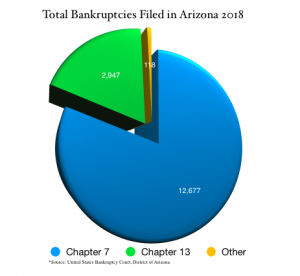 Pie chart showing total bankruptcies filed in Arizona 2018